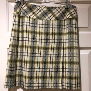 Loft Plaid Skirt with Front Pleat